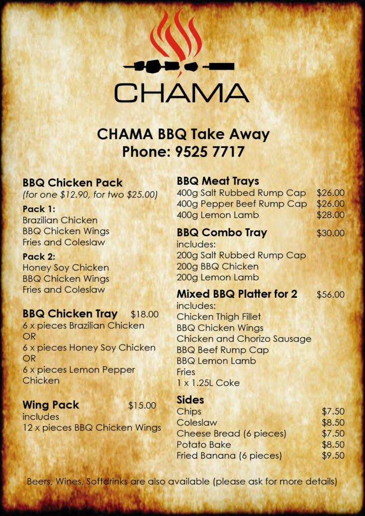 Take Away Menu March 2020